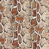 Kunstleder Schlangen – wollweiss/braun — Meterware ab