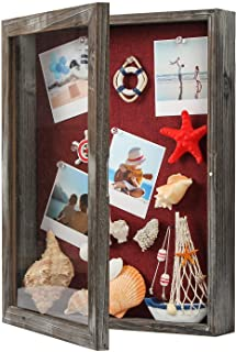 J JACKCUBE DESIGN Shadow Box Display Case Memory Box Rustic Wood Frame with Linen Back Gifts Keepsakes Storage for Picture...