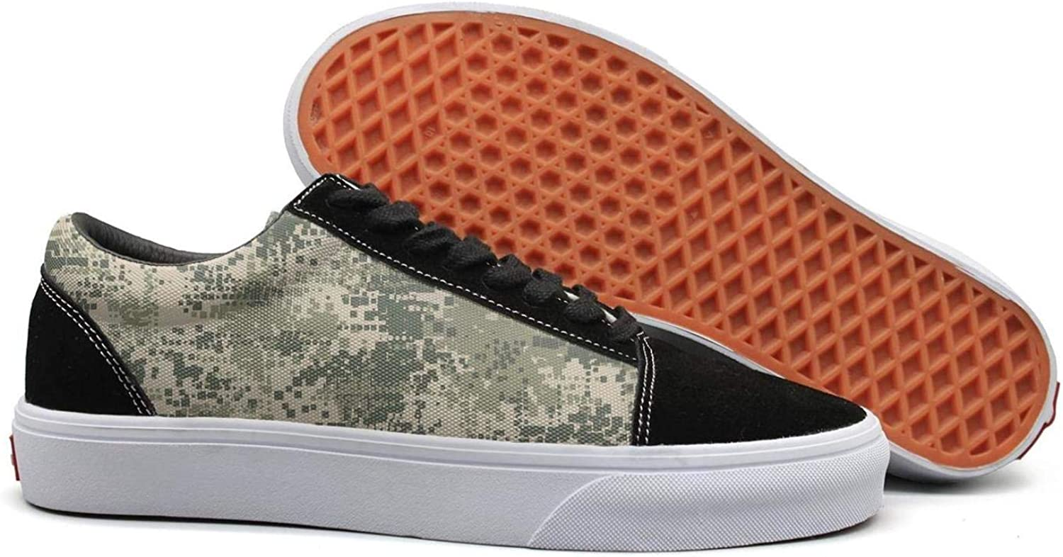 Uieort Green Army Desert Digital camo Womens Lace up Canvas shoes Lightweight