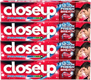 Closeup Toothpaste Red Hot, 120ml - (Pack of 4)
