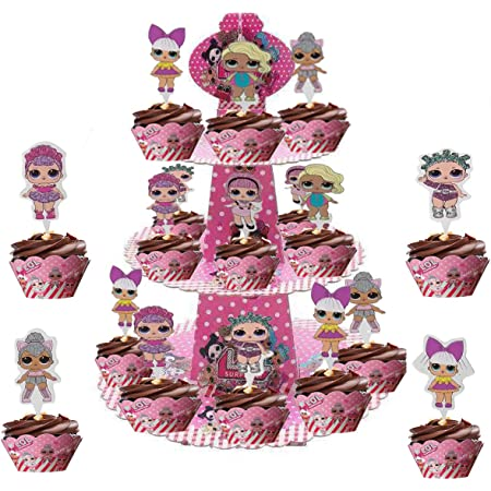 Party Supplies for Kids Table Topper for Birthday Party Decoration Photo Booth Props 6pcs Cartoon LOL Honeycomb Centerpieces Double Sided Cake Topper Doll Party Favors