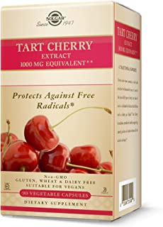 Solgar Tart Cherry 1000 mg, 90 Vegetable Capsules - Antioxidant with Quercetin, Chlorogenic Acid & Anthocyanins Compounds ...