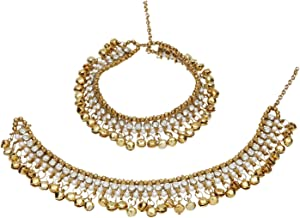 Efulgenz Indian Bollywood Gold Plated Faux Kundan Pearl Wedding Bridal Anklet Pair with Bells (2 Piece) Bracelet Payal Foot Jewelry