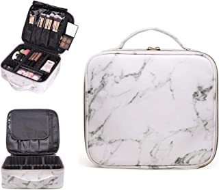 R&R Beauty Luxury White Marble Travel Makeup Bag Train Case, Waterproof Cosmetic Case with Adjustable Dividers for Makeup, Toiletries, and Electronics