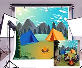 Laeacco Summer Island Camp Backdrop 6.5x6.5ft Outdoors Phtography Background Mountains and Waters Camping Travel Trees Cartoon Backdrops Children Boys Adults Photos