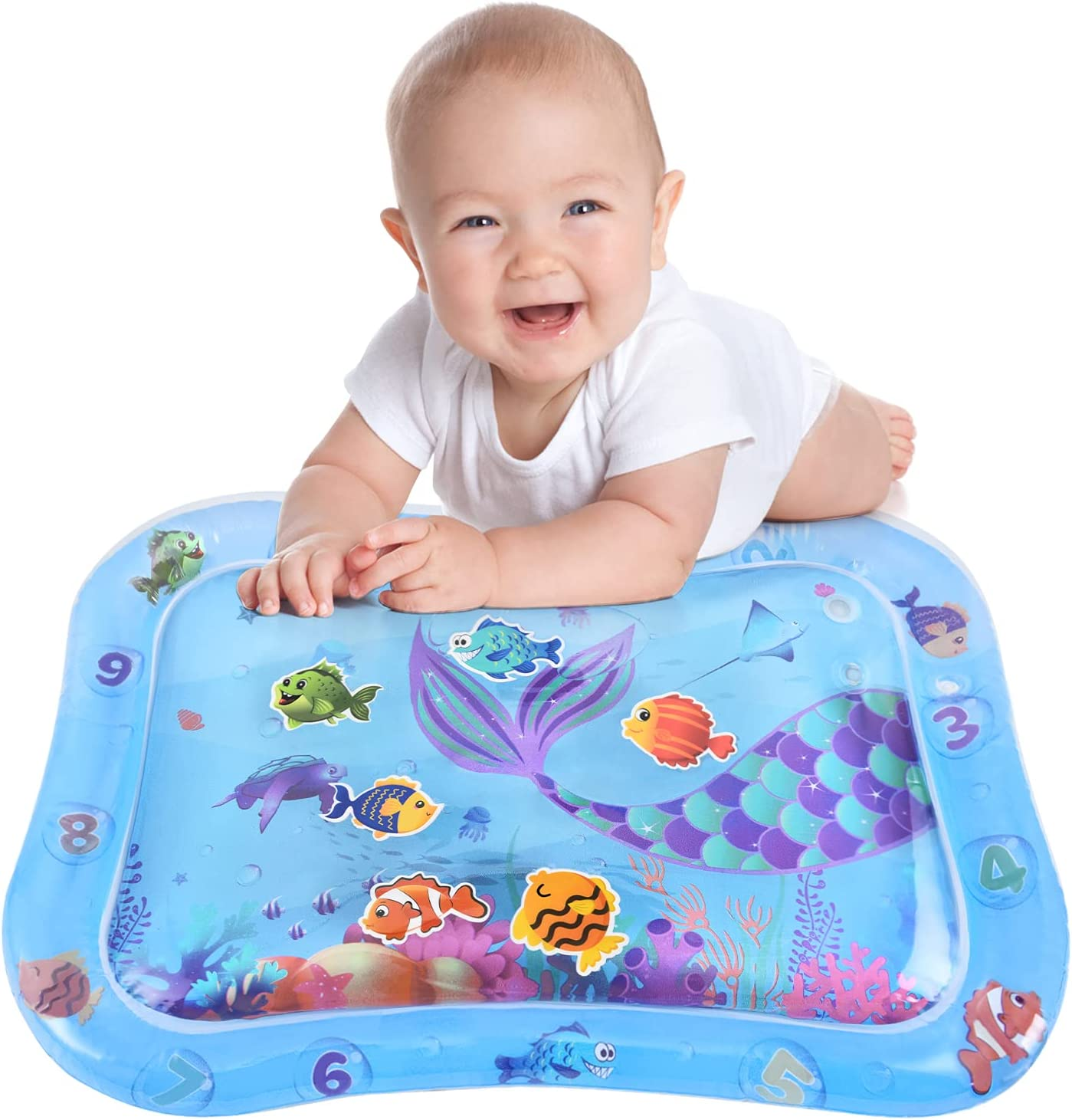 WERNNSAI Tummy Time Water Mat - 26'' x 20'' Water Play Mat for Baby Girls Boys Inflatable Activity Center Fun Infant Toys for 3 6 9 Months Baby Stimulation Growth (Mermaid)