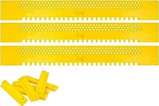 Lantelme Fluglochschieber 3 Stück Bienen Fluglochverkleinerer und Scharniere Set Imkereibedarf Bienenflucht gelb 7060