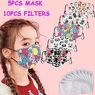Kids Reusable Facial Face Covering,Cute Anime Animals Printed, Outdoors Washable Protection for Kids Student School(Small(Size:16x13cm/6.3x5.1''), 5PC +10PC filters(A))