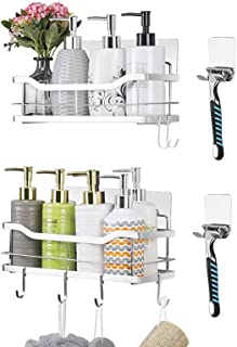 Carwiner Shower Caddy Bathroom Shelf 2-Pack, Adhesive Basket with Hooks for Hanging Shampoo Conditioner, SUS304 Stainless ...