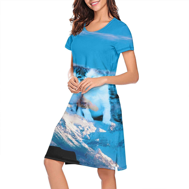 ZWEN Womens Bengal Cat Space Snow Mountain Nightgown Printed Nightshirt Funny Slip Dress