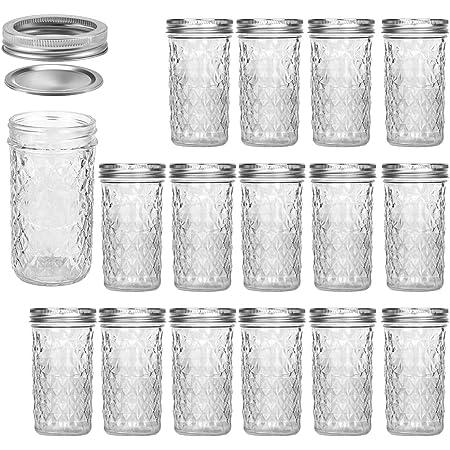 Mason Jars 12 OZ, VERONES Canning Jars Jelly Jars With Regular Lids, Ideal for Jam, Honey, Wedding Favors, Shower Favors,15 PACK
