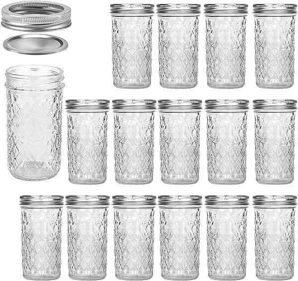 Mason Jars 12 OZ VERONES Canning Jars Jelly Jars With Regular Lids Ideal For Jam Honey Wedding Favors Shower Favors Baby Foods 15 PACK