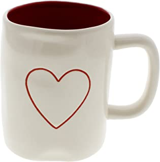 Rae Dunn by Magenta Big & Little HEART Ceramic LL Coffee Mug Red Interior