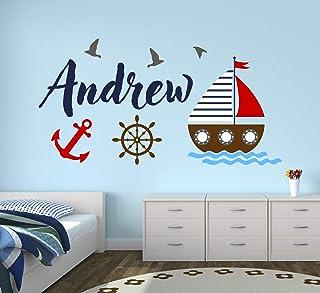 "Custom Nautical Name Wall Decal - Bunny Room Decor - Nursery Wall Decals - Sailboat Wheel Anchor Wall Mural Sticker (30"" x 16"")"