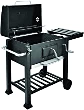 Netagon Outdoor Charcoal Freestanding BBQ Barbecue with Portable Wheels, Smoker heat Lid and Shelf- Black