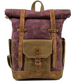 Fostudork Frauen-Spielraum-Rucksack Vintage Military Rucksack Male Reisetasche Große Kapazität wasserdichter Rucksack-Schule-Schulter-Segeltuch-Mann-beiläufige Daypacks, weinrot