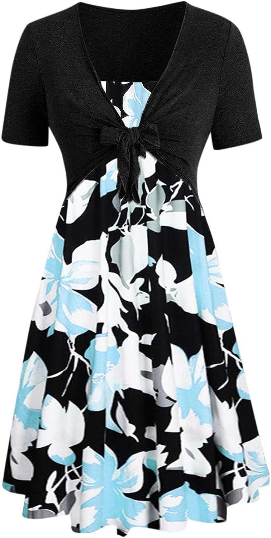 AODONG Summer Dresses for Women Plus Bow Knot Bandage Floral Mini Swing Dress Suit Dress Short Sleeve Beach Sundress