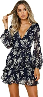 Long Sleeve Bishop Sleeve Deep V Neck Cross Wrap Front Tie Front Floral Pleated Mini A-Line Dress