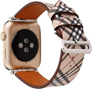 Amedve for Apple Watch Band Tartan Plaid Style Replacement Strap Wrist Band with Silver Metal Adapter for Apple Watch Series 1 Series 2 Series 3, Sport & Edition (Khaki, 38mm)