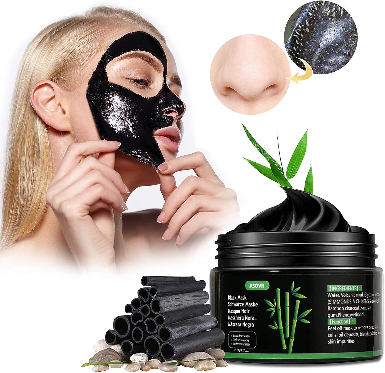 Mascarillas Faciales de Espinillas, Mascarilla Facial de Carbón de Bambú y Control de Aceite, Fuerte Absorción de Poros y Basura, Desobstruye los Poros y Mejora el Brillo y la Elasticidad de la Piel