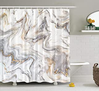 Marble Shower Curtain,LILYMUA Marble Ink Texture Skin Wall Tile Luxurious Graphic Fabric Bathroom Shower Curtain Polyester Bath Curtain Fashion Beautiful Art Print Waterproof Bathroom Decor 72x72 Inch