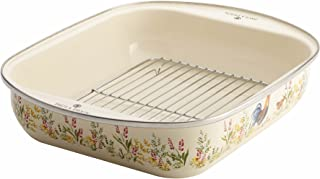 Paula Deen 46811 Enamel on Steel Roaster / Roasting Pan with Rack - 14 Inch x 12 Inch, Garden Rooster