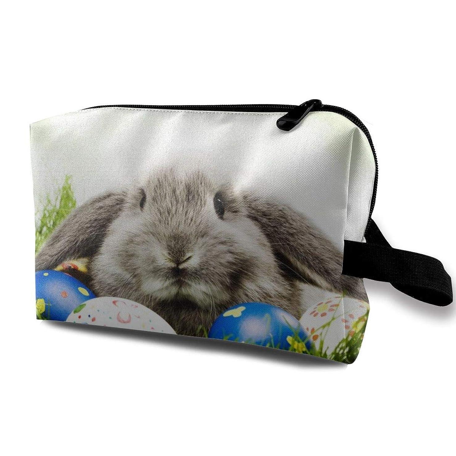 八百屋エゴマニア損なうHappy Easter Bunny 収納ポーチ 化粧ポーチ 大容量 軽量 耐久性 ハンドル付持ち運び便利。入れ 自宅?出張?旅行?アウトドア撮影などに対応。メンズ レディース トラベルグッズ