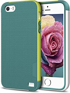 EXSEK iPhone 5/5S SE Case, Hybrid Ultra Slim 3 Color Case Shockproof [Anti-Slip] [Extra Front Raised Lip] Scratch Resistant Soft Gel Bumper Rugged Case for iPhone 5/5S (Green)