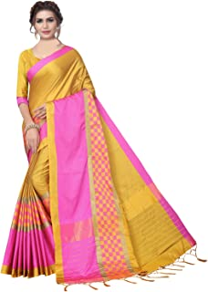 KANCHNAR Women's Mustard and Blue Poly Silk Saree with Unstitched Blouse