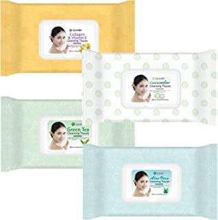 Kareway Epielle Assorted Makeup Remover Cleansing Tissues Wipes Towelettes - 60ct (Sheets) per pack, Total 4 packs
