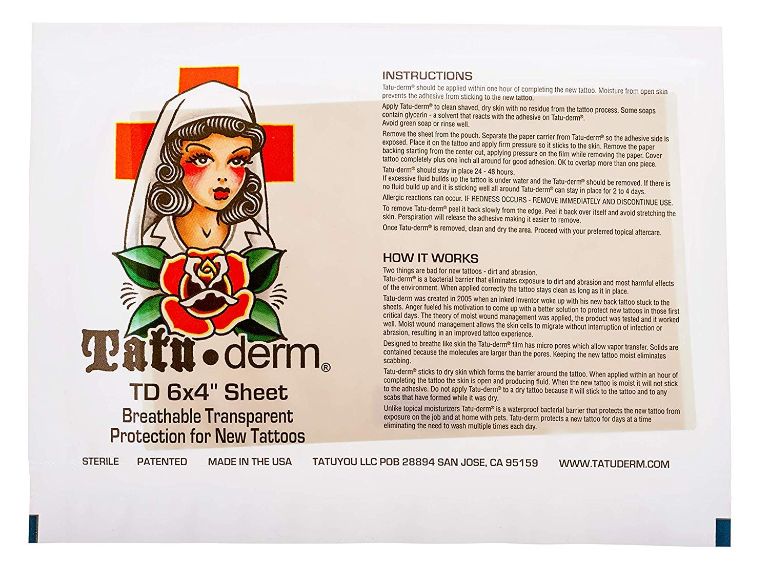 Tatu-Derm - Best Tattoo After Sheet Patch Bandages New product!! 6X4 Cheap mail order specialty store Care