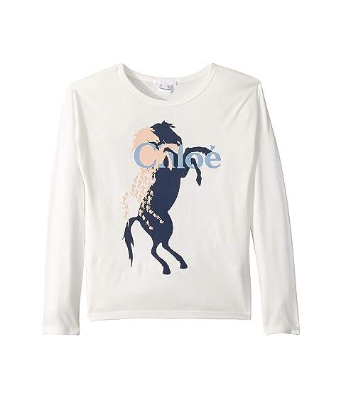 Chloe Kids Long Sleeve T-Shirt w/ Horse and Logo (Little Kids/Big Kids)