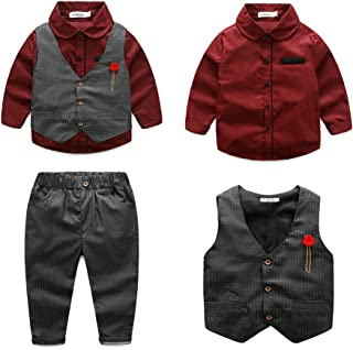 Tommelise Baby Boys Gentleman Clothing Sets Bowtie Shirts +Vest +Pants Casual Suit 3Pcs