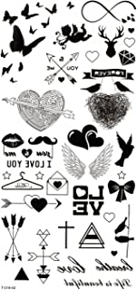 Wonbeauty best and temporary tattoos Butterflies,hearts,arrows,cupid,wings,I LOVE YOU,wings long lasting and realistic temporary tattoos
