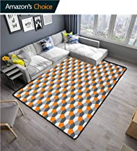 YucouHome Abstract Over Sized Area Rug Kids Girl, Modern Style Origami Inspired Mosaic Tile with Hexagonal Shapes, Fashionable High Class Living Dinning Room(8'x 10') Grey Charcoal Grey Orange