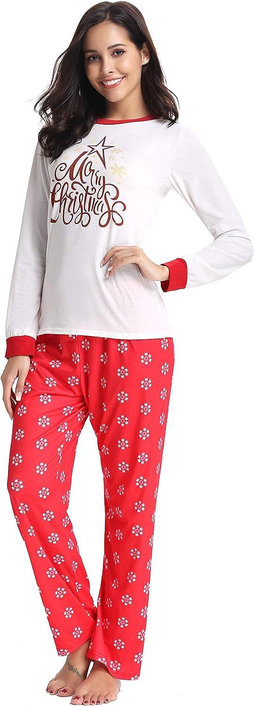 AMONIDA 2018 Christmas Pajama Set for Women Cotton Sleepwear Long Sleeve Pj Set