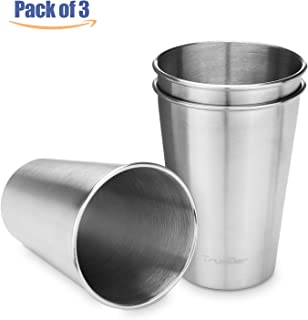 TRUSBER Stainless Steel Cups, Metal Drinking Cups, Beer Tumblers, 304 Stackable, 16oz (500ml), BPA Free, Kids Friendly, Great for Indoor and Outdoor (Pack of 3)