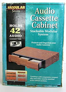 Vintage Modular Series Faux Wood Audio Cassette Storage Drawer Cabinet Holder 42 Tapes