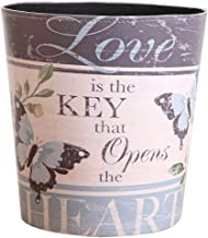 Trash Can, Lingxuinfo European British Style Waste Paper Bin Wastebasket Garbage Can Uncovered Waste Bin for Kitchen Bathroom Bedroom - Butterfly Pattern