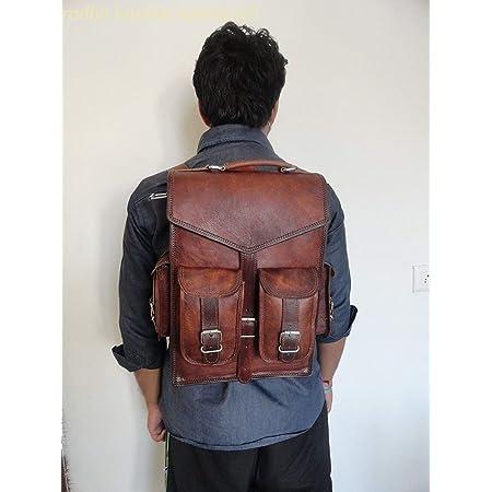 Alaska exports Mochila de cuero vintage marrón para ordenador portátil Messenger Bag Sling para hombres y mujeres