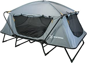 Winterial Double Outdoor Camping Tent Cot, Elevated Sleeping Platform with Collapsible Aluminum Frame