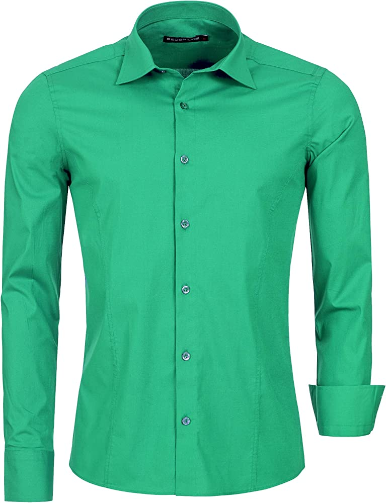 Redbridge, camicia per uomo, 97% cotone, 3% elastan, verde R-2111U