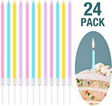 Frienda Metallic Birthday Cake Candles in Holders Long Thin Birthday Candles Cupcake Candles Wedding Party Cake Decorations (Pink, Yellow, Blue and Purple)