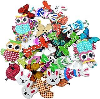 Homyl 50 Animais Variados De Madeira Botões Decorativos Diy Scrapbooking Artesanato De Costura
