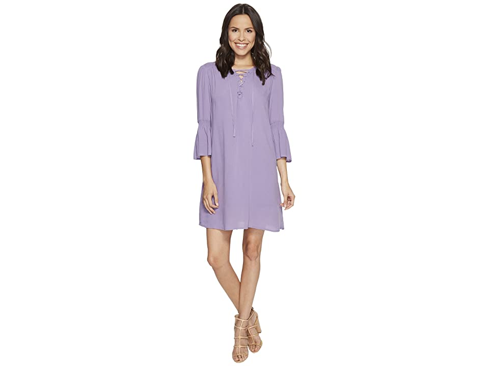Jack by BB Dakota Simone Rayon Crepe Lace Front Dress + Slip (Lavender Purple) Women