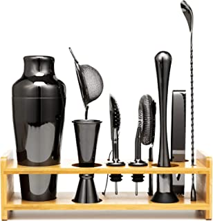 Jillmo Bartender Kit - 11 Piece Cocktail Shaker Bar Tool Set Black with Bamboo Stand - Professional Home Bartending Kit and Martini Cocktail Shaker Set