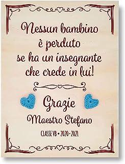 Crociedelizie, Idea regalo maestra targa targhetta frase personalizzata personalizzabile nome maestre elementari asilo fin...