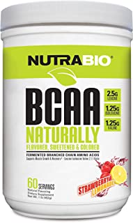 NutraBio BCAA Natural Powder - 60 Servings (Strawberry Lemonade)