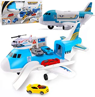 AISFA Airplane Toys Set with Transport Cargo and 4pcs Vehicle Car Toy, Parking Scene Game with Stickers, Educational Vehicle Airplane Car Set for 3 4 5 Years Old Boys and Girls