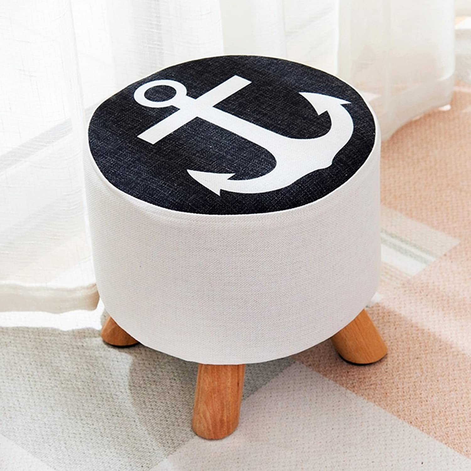 Padded Footstool Solid Wood Fabric Small Round stools Sofa stools, shoes Home use shoes Benches Fashion Bench Stool Coffee Table Comfortable not Tired